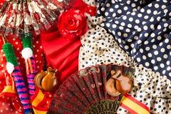 Espana typique d'Espagne avec la fan rose de flamenco de castagnettes Image stock
