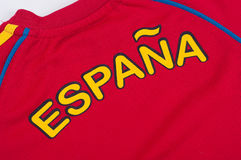 Espana win. Red shirt with espana text - background Royalty Free Stock Image