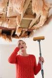 Espanador da terra arrendada da mulher sob o teto danificado Imagens de Stock