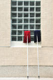 Espanador vermelho e azul velho Fotografia de Stock
