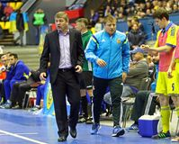 Espanha amigável de Ucrânia v do fósforo de Futsal Foto de Stock Royalty Free