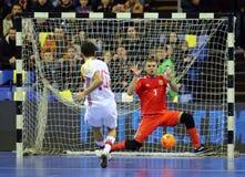 Espanha amigável de Ucrânia v do fósforo de Futsal Imagens de Stock Royalty Free