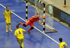 Espanha amigável de Ucrânia v do fósforo de Futsal Fotografia de Stock