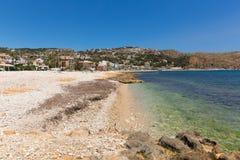 Espanha azul clara de Javea Xabia do mar na praia de Platja de la Grava situada ao sudeste de Denia igualmente conhecido como Xab Imagens de Stock Royalty Free