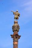 Espanha. Barcelona. Monumento de Columbus.Close acima em um dia ensolarado foto de stock