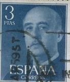 ESPANHA - CERCA DE 1949: O selo imprimiu em mostrar um retrato do general Francisco Franco 1892-1975 Fotos de Stock Royalty Free