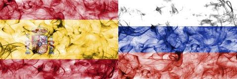Espanha contra a bandeira do fumo de Rússia, quartos de final, campeonato do mundo 2018 do futebol, Moscou, Rússia ilustração royalty free