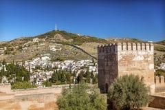 Espanha de Alhambra Castle Towers Cityscape Wall Granada a Andaluzia Fotos de Stock Royalty Free