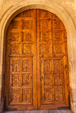 Espanha de Alhambra Wooden Ornate Door Granada a Andaluzia imagem de stock royalty free