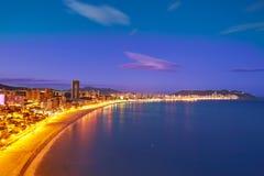 Espanha de Alicante do por do sol da praia de Benidorm Poniente fotografia de stock royalty free