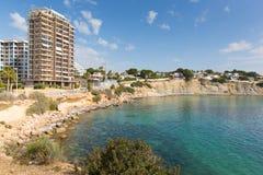 Espanha de Caleta Alicante do La, baía pequena perto de Playa de la Fossa e Espanha de Calp, Alicante Fotografia de Stock