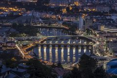 Espanha de Ponte a Dinamarca Barca Pontevedra Galiza Imagem de Stock
