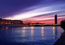 Espanha de Triana Sevilha da ponte de Puente Isabel II Foto de Stock