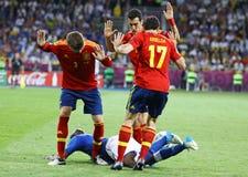 Espanha 2012 do final do EURO do UEFA contra Itália Fotos de Stock Royalty Free