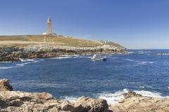 Espanha, Galiza, um Coruna, Hercules Tower Lighthouse Imagens de Stock