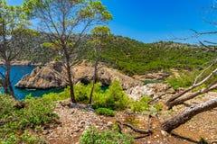 Espanha Majorca Cala Monjo, mar Mediterrâneo imagens de stock