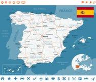 Espanha - mapa, bandeira, etiquetas da navegação, estradas - ilustração Fotos de Stock Royalty Free