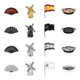 Espanha, país, turismo e o outro ícone da Web no estilo dos desenhos animados Fritura, bandeja, alimento, ícones na coleção do gr Imagem de Stock Royalty Free