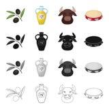 Espanha, país, turismo e o outro ícone da Web no estilo dos desenhos animados Pandeiro, instrumento, musical, ícones na coleção d Fotografia de Stock