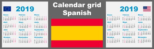 Espanhol do calendário, 2019 molde ajustado latino-americano da ilustração do ISO 8601 da parede da grade com numeração da semana ilustração do vetor