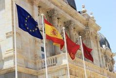 Espanhol e bandeiras da UE Fotografia de Stock Royalty Free