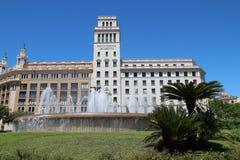 Espanol banco de credito, Plaça de Catalunya, Barcellona Fotografie Stock Libere da Diritti