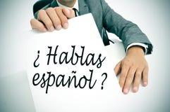Espanol di Hablas? parlate Spagnolo? scritto nello Spagnolo immagine stock libera da diritti