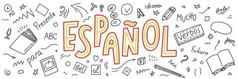 Espanol ` Español del ` de la traducción Garabatos y el poner letras exhaustos de la mano de la lengua ilustración del vector