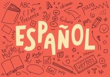 Espanol ` Español del ` de la traducción Garabatos y el poner letras exhaustos de la mano de la lengua libre illustration