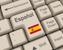 Espanol key. Enter key with espanol flag Stock Photos