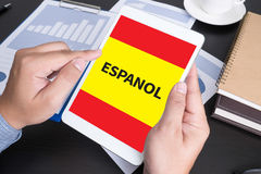 ESPANOL   Learn spanish Education and Habla Espanol , Asking Do Royalty Free Stock Photo