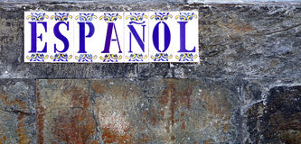 Espanol. The word espanol on tiles at a wall Royalty Free Stock Image