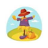 Espantalho na roupa que está em um campo com abóbora abaixo, exploração agrícola e cultivando ilustração relacionada em desenhos  Fotografia de Stock