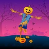 Espantapájaros asustadizo con la calabaza en Halloween Imágenes de archivo libres de regalías