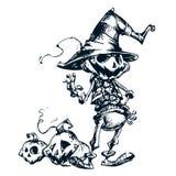 Espantapájaros asustadizo de la cabeza de la calabaza de la linterna del enchufe o de Halloween, ejemplo del vector para Hallowee Foto de archivo libre de regalías