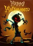 Espantapájaros asustadizo de la cabeza de la calabaza de Halloween, postal del vector para el día de fiesta de Halloween fotos de archivo