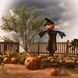 Espantapájaros asustadizo Jack Pumpkin Patch Ilustración del Vector