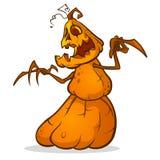 Espantapájaros de Halloween con la cabeza de la calabaza Vector al monstruo de la calabaza de la historieta con la expresión sonr Imagenes de archivo