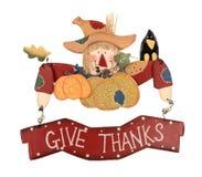 Espantapájaros de la acción de gracias Imagen de archivo libre de regalías
