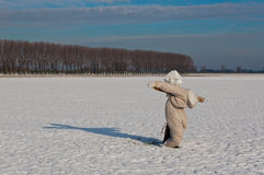 Espantapájaros en un campo nevoso fotografía de archivo