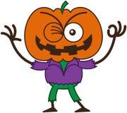 Espantapájaros fresco de Halloween que guiña y que hace una muestra ACEPTABLE ilustración del vector