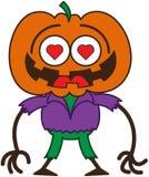 Espantapájaros lindo de Halloween en amor stock de ilustración