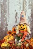 Espantapájaros lindo rodeado por las decoraciones del otoño Imagen de archivo