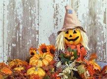Espantapájaros lindo rodeado por las decoraciones del otoño Foto de archivo