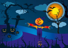Espantapájaros y las calabazas en la noche asustadiza de Halloween - vector el ejemplo Fotos de archivo libres de regalías