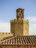 Espantaperros塔在巴达霍斯Alcazaba的  库存图片