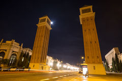 espanya de DES de plaza Barcelone Espagne la nuit Photo stock