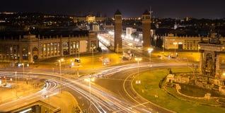 espanya de DES de plaza Barcelone Espagne la nuit Image stock