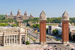 Espanya Square in Barcelona. And National Palace Royalty Free Stock Photography