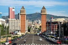 Espanya Square in Barcelona. And National Palace Royalty Free Stock Photo